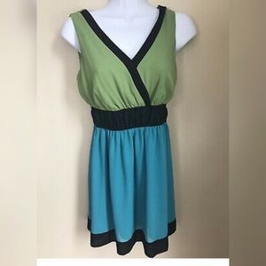 Blue and green dress